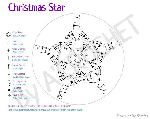 Schéma en anglais et français une étoile de Noël facile à réaliser au crochet.